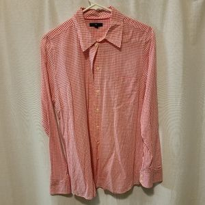 Pink and white Gap button down long sleeve shirt